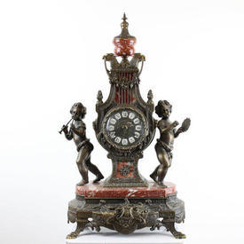 Bronze Metal & Marble French Mantle Clock with Putto