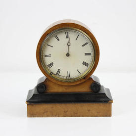 Walnut And Black Deco Mantle Clock