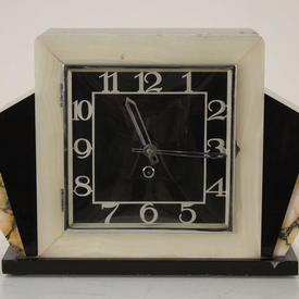 Black And White Marble Deco Mantle Clock