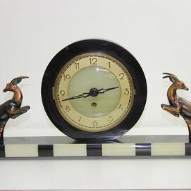Black & Pale Green Reson Art Deco Mantle Clock with 2 Copper Gazelles