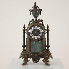 Bronze & Green Marble Mantle Clock with Ivory Face