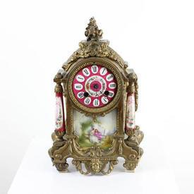 Brass Decorated Mantle Clock with Pink Decor Face And Pillars