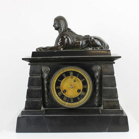 Black Marble Mantle Clock with Sphinx