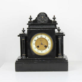 Black Marble Empire Style Mantle Clock