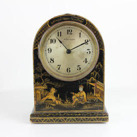 Small Black Lacquered Chinese Dome Top Mantle Clock