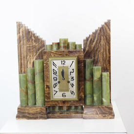 Brown And Green Marble Deco Mantle Clock