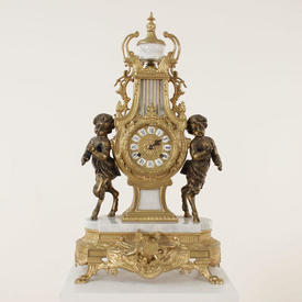 White Marble & Gilt French Mantle Clock Flanked By Two Cherubs