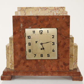 Cream And Brown 1930'S Mantle Clock