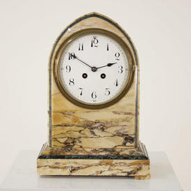 Yellow Marble Dome Top Mantle Clock