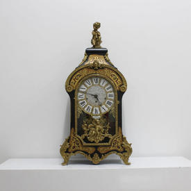 Black And Brass Boulle Mantle Clock