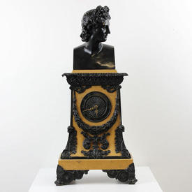 Cream And Black Mantle Clock with Figurehead