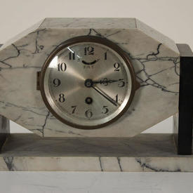 1930S Grey & Black Marble Mantle Clock