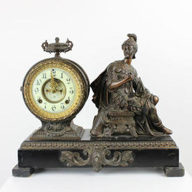 Bronze Roman Style Mantle Clock with Black Marble Base