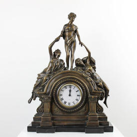 Large Bronze Mantle Clock with 3  x  Female Figures on Blk Marble Base
