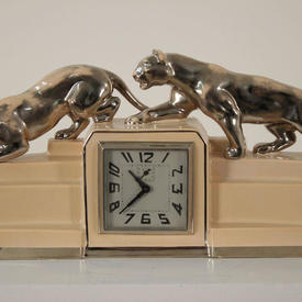 Cream Crackled Glaze Ceramic, Art Deco Mantle Clock with Silver Mounted Panthers