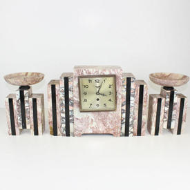 "Lrg Pink Marble & onyx ""Art Deco"" Stepped Side Mantle Clock, Sq Brass Face"