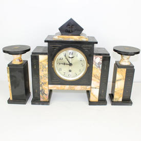"onyx & Honey Colour Marble ""Art Deco"" Mantle Clock with Triangular Shape Top Decor"