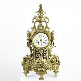 54Cm Ornate French Brass Mantle Clock with White Face
