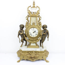 60Cm White Marble & Gilt Mantle Clock Flanked By Two Cherubs