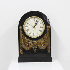 32Cm Black onyx Dome Clock with Gilt Swag Decoration