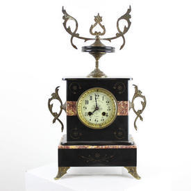 Blk Mantle Clock with Pink Marble inlaid Detail Brass Decorative Side & Top