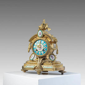 "Brass ""Sevres"" Mantle Clock with Pale Blue Face & inserts, with Key"
