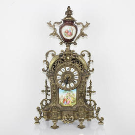 50Cm Ornate Brass 'Sevres' Decorated Mantle Clock