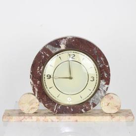 Pink Marble Circular (Disc) Art Deco Mantle Clock