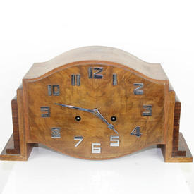 Walnut Stepped Side 'Art Deco' Mantle Clock with Silver Figures