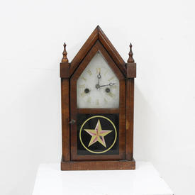 37Cm Pale Mahogany Spire Top Mantle Clock with Glass Star Panel