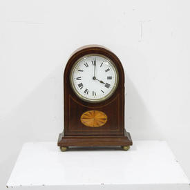 21Cm Mahogany Dome Top Mantle Clock with inlay