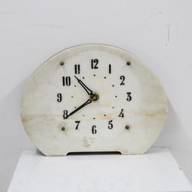 Pink & White Marble Face 'Deco Style' Mantle Clock