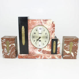 Pink Marble & onyx, Stepped Shape Art Deco Mantle Clock with Brass Detail
