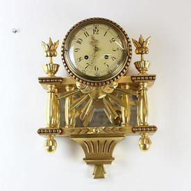 45Cm Ornate Gilt Wall Clock with Cream Face & Column, Sunburst Decor