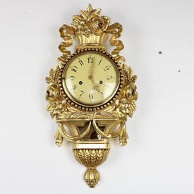 60Cm Ornate Gilt Wall Clock with Cream Face & Flowers Ribbons Decor