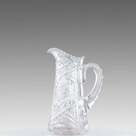 """10"""" Clear Cut Glass Jug with Swan Neck Handle"""
