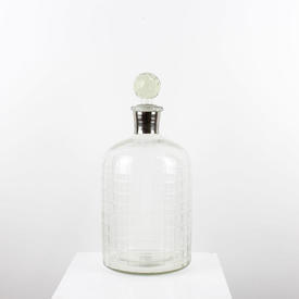 """15"""" Large Clear Glass Grid Pattern Decanter with Stopper"""