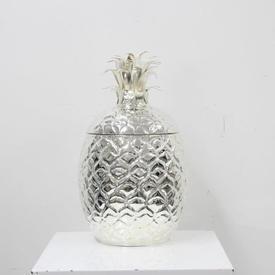 Large Silver Plate Pineapple Cooler, Flip Lid