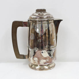 Silver Art Deco Style Tea Pot with Wooden Handle