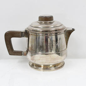 Silver Art Deco Style Tea Coffee  with Wooden Handle