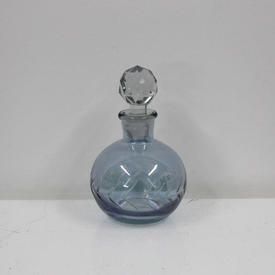 Large 13Cm Etched Blue Glass Bulbous Perfume Bottle with Prism Stopper