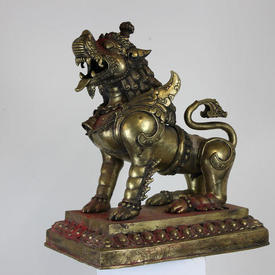 Large 70Cm Brass Temple Guardian Dog