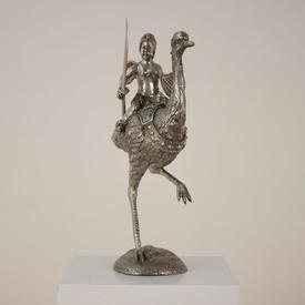 Silvered Bronze Cherub Warrior Riding Ostrich