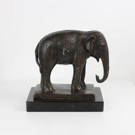 "Bronze Elephant ""Babar"" with Curled in Trunk"