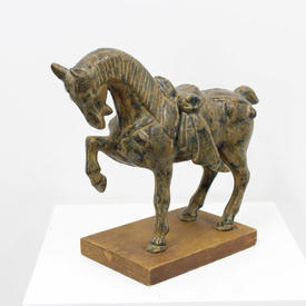 Painted Cast Iron Horse on Wooden Stand