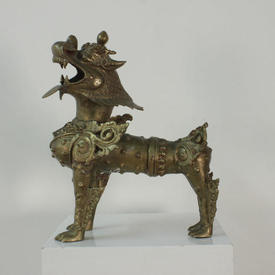 "Large 17"" Brass Temple Guardian Dog"