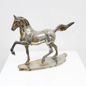 Small Silver Horse on Base