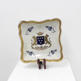 Ceramic Square Gilded Decorative Sweet Dish with Blue Crest Pattern
