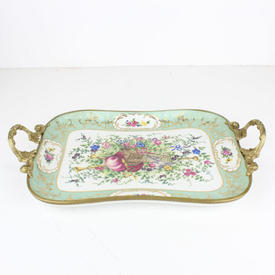 "34Cm Pale Green, Floral Painted Decor ""Sevres"" Tray with Brass Handles"