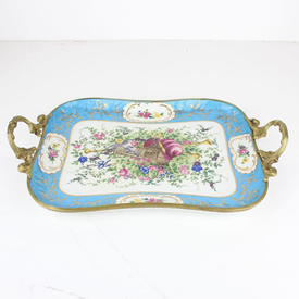 "34Cm Pale Blue, Floral Painted Decor ""Sevres"" Tray with Brass Handles"